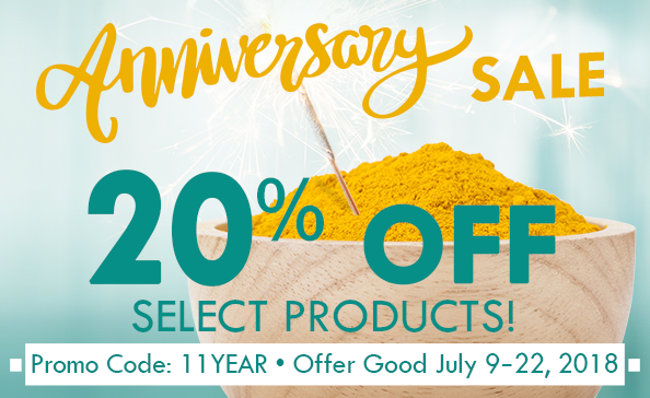 Anniversary Sale – 20% off Curamin, Curamin Extra Strength, CuraMed 200mg, 325mg, 750mg, promo code: 11YEAR, Offer good 7.5.18-7.22.18