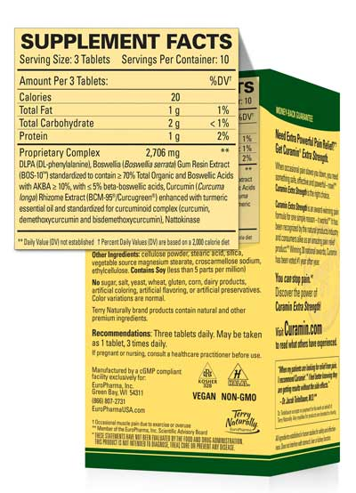 Curamin® supplement label