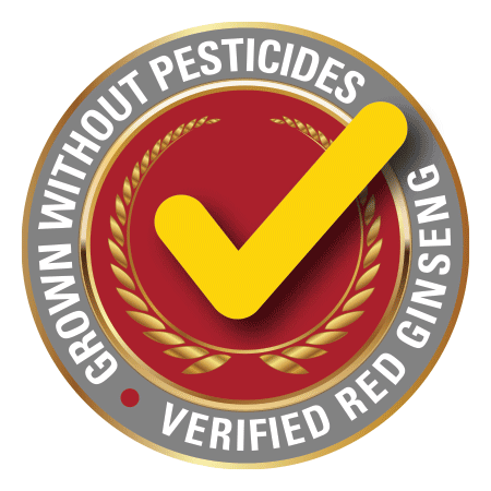 Grown without pesticides • Verified Red Ginseng