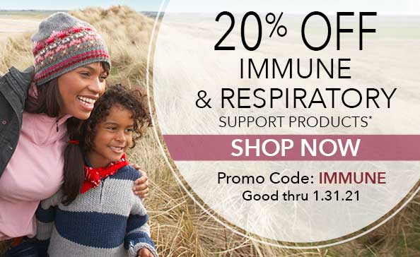 20% off immune and respiratory support products. Promo code: immune. Shop Now